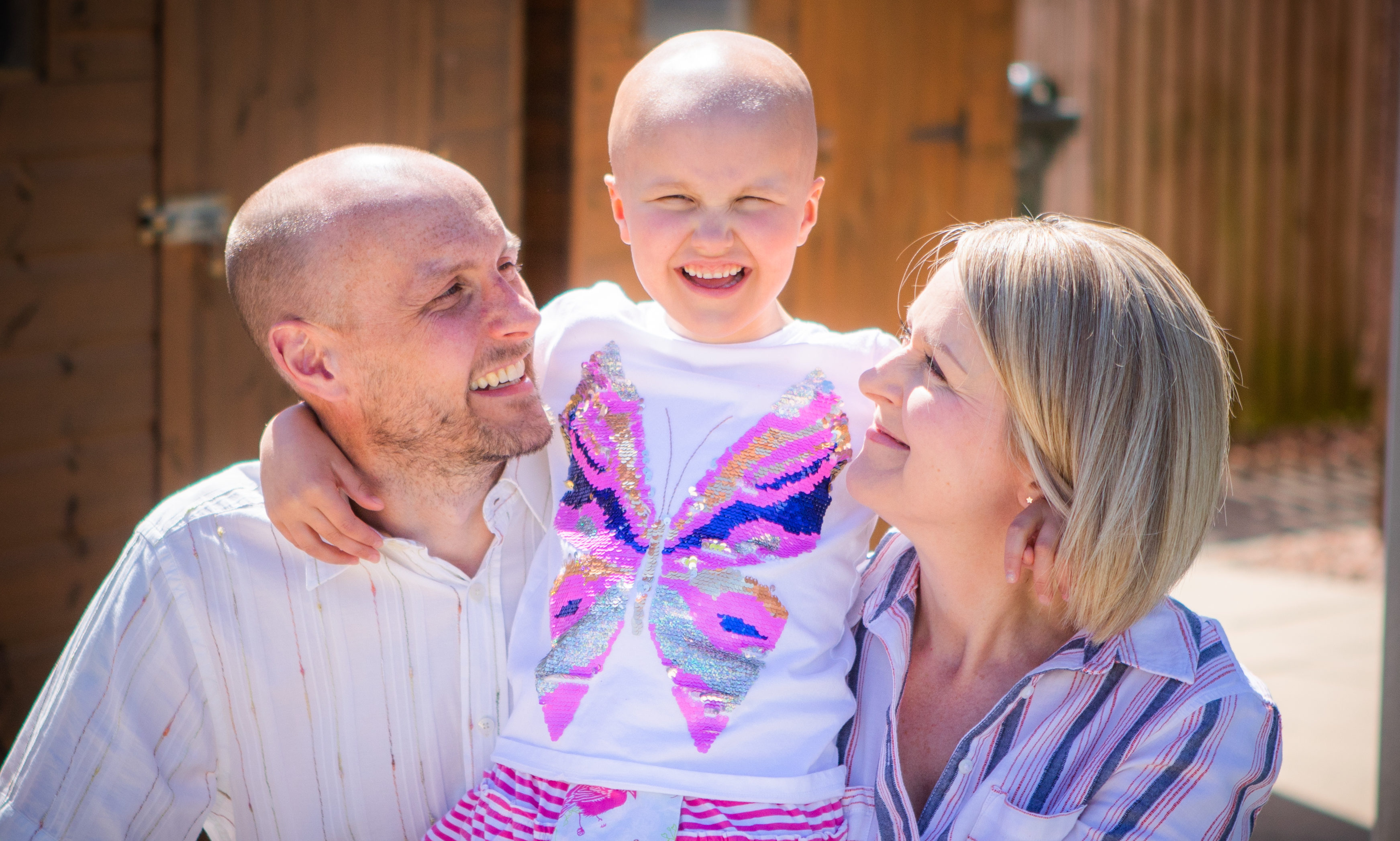 Ruby Stewart with parents Andy and Claire at home in Inchture, June 2019