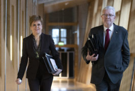 First Minister Nicola Sturgeon and Cabinet Secretary for Government Business and Constitutional Relations Mike Russell arrive ahead of a Holyrood debate on 'Scotland's Future' where MSPs will be asked to back a second independence referendum this year, at the Scottish Parliament, Edinburgh. PA Photo. Picture date: Wednesday January 29, 2020. Photo credit should read: Jane Barlow/PA Wire