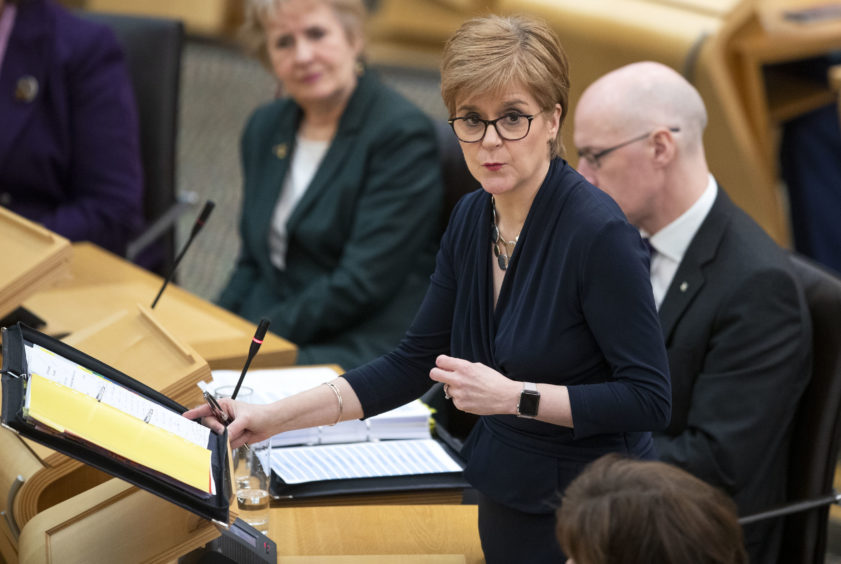First Minister Nicola Sturgeon during First Minister's Questions at the Scottish Parliament in Edinburgh.