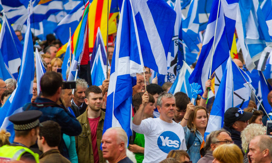 Scottish independence marchers in Dundee in 2018.