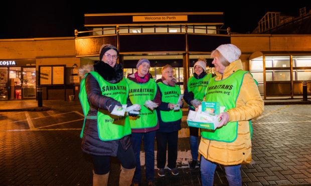 Perth Samaritans Linda, Maggie, Judy, Isla and Emma handed out teabags at Perth Railway Station on Monday.