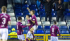 Luke Donnelly and teammates celebrate his scoring for Arbroath against Inverness.