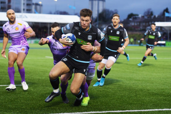 Huw Jones goes in for Glasgow's second try against Exeter at Scotstoun.