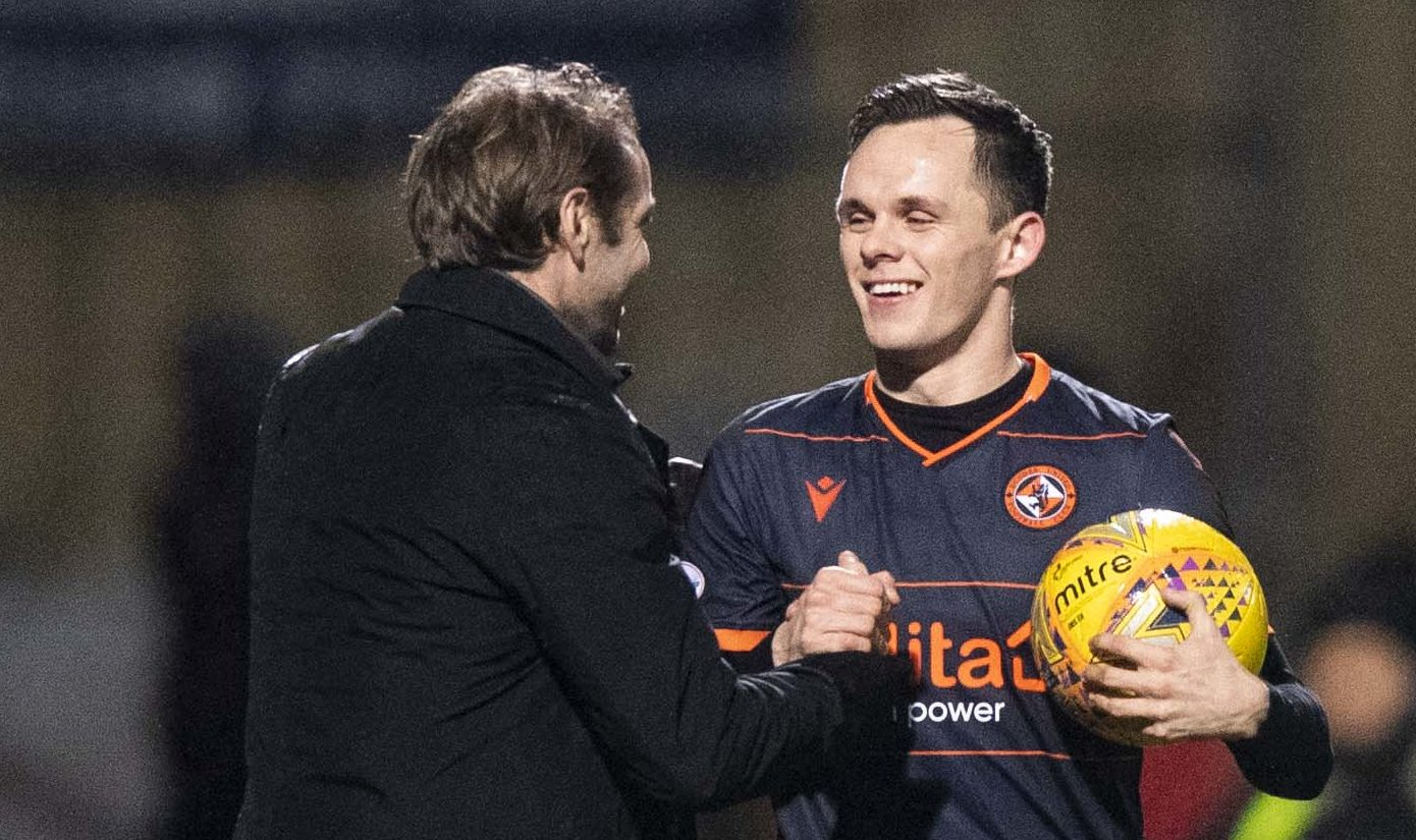 Robbie Neilson and Lawrence Shankland after the player's Firhill hat-trick.