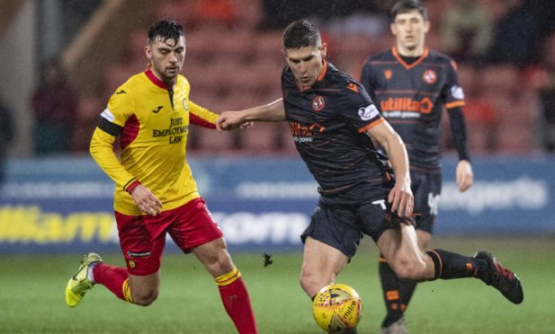 Dillon Powers in action against Partick.