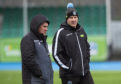 Glasgow Warriors' head coach Dave Rennie (L) and forwards coach John Dalziel.