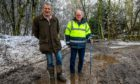 Farmer Murdo Fraser (left) and Councillor Andy Heer are worried about the condition of the potholed Q52 road near Auchtermuchty.