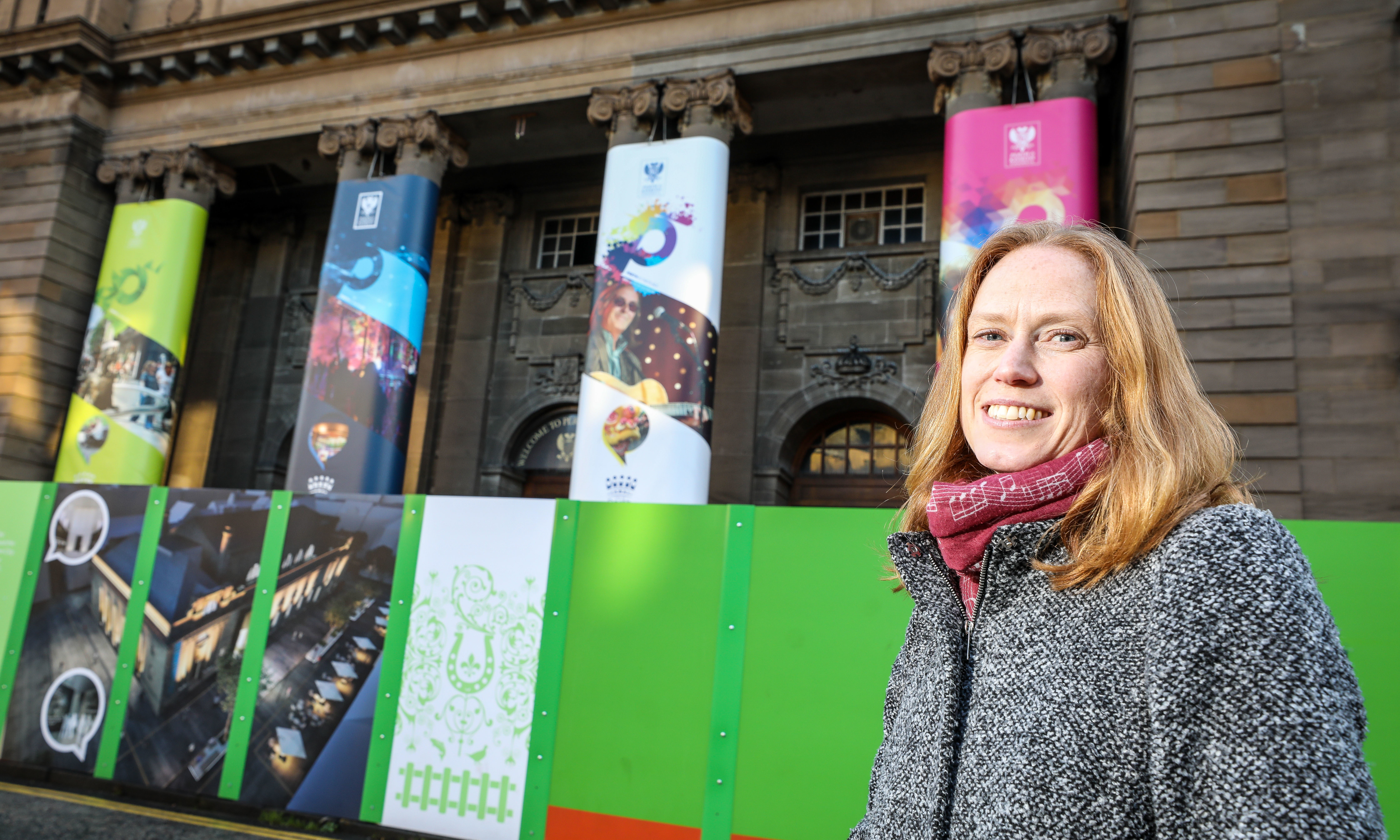 Visit Scotland's Regional Leadership Director, Caroline Warburton outside Perth City Hall.