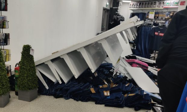 The fallen over structure in TJ Hughes.
