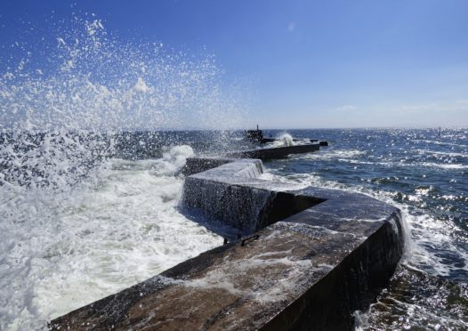 Waves over the Blocks at St Monans