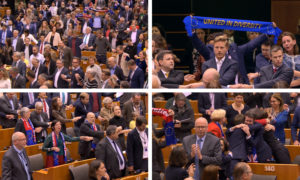 Auld Lang Syne was sung in the EU Parliament as backing was given to Boris Johnson's Brexit deal.