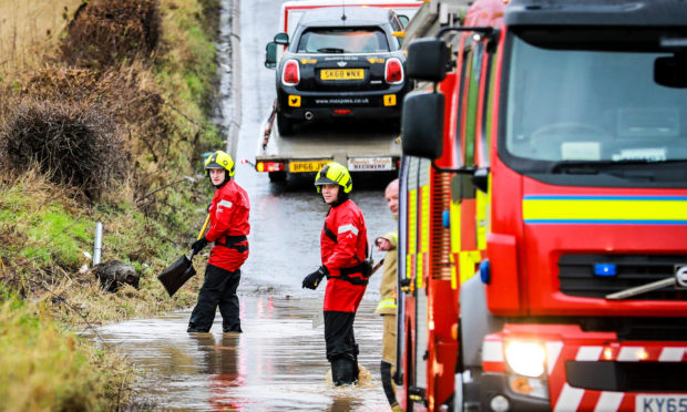Fire crews clearing the flooding in Fife.