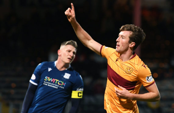 Christopher Long celebrates making it 2-0 to Motherwell.