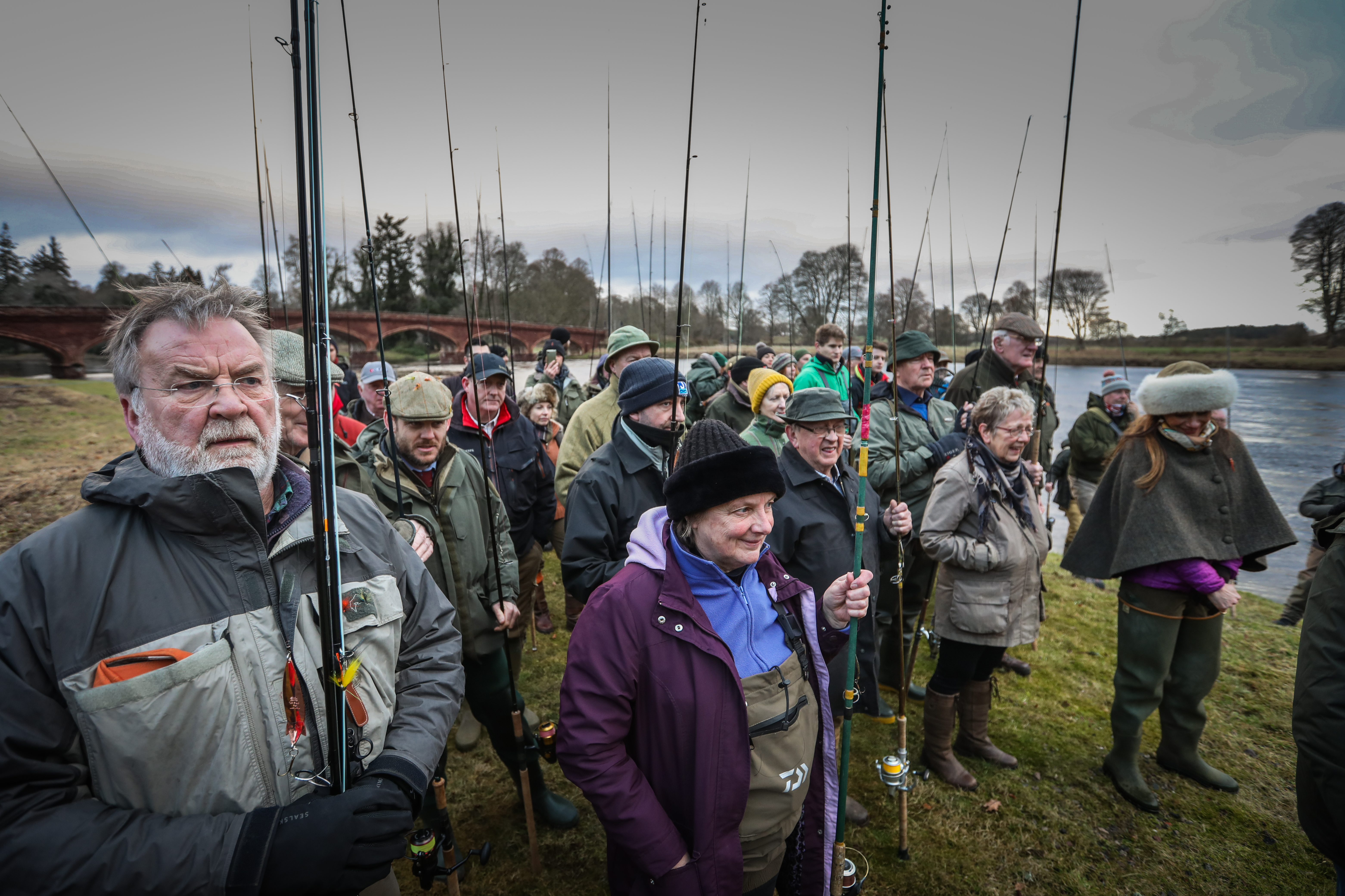 Anglers eagerly gather at Meikleour.
