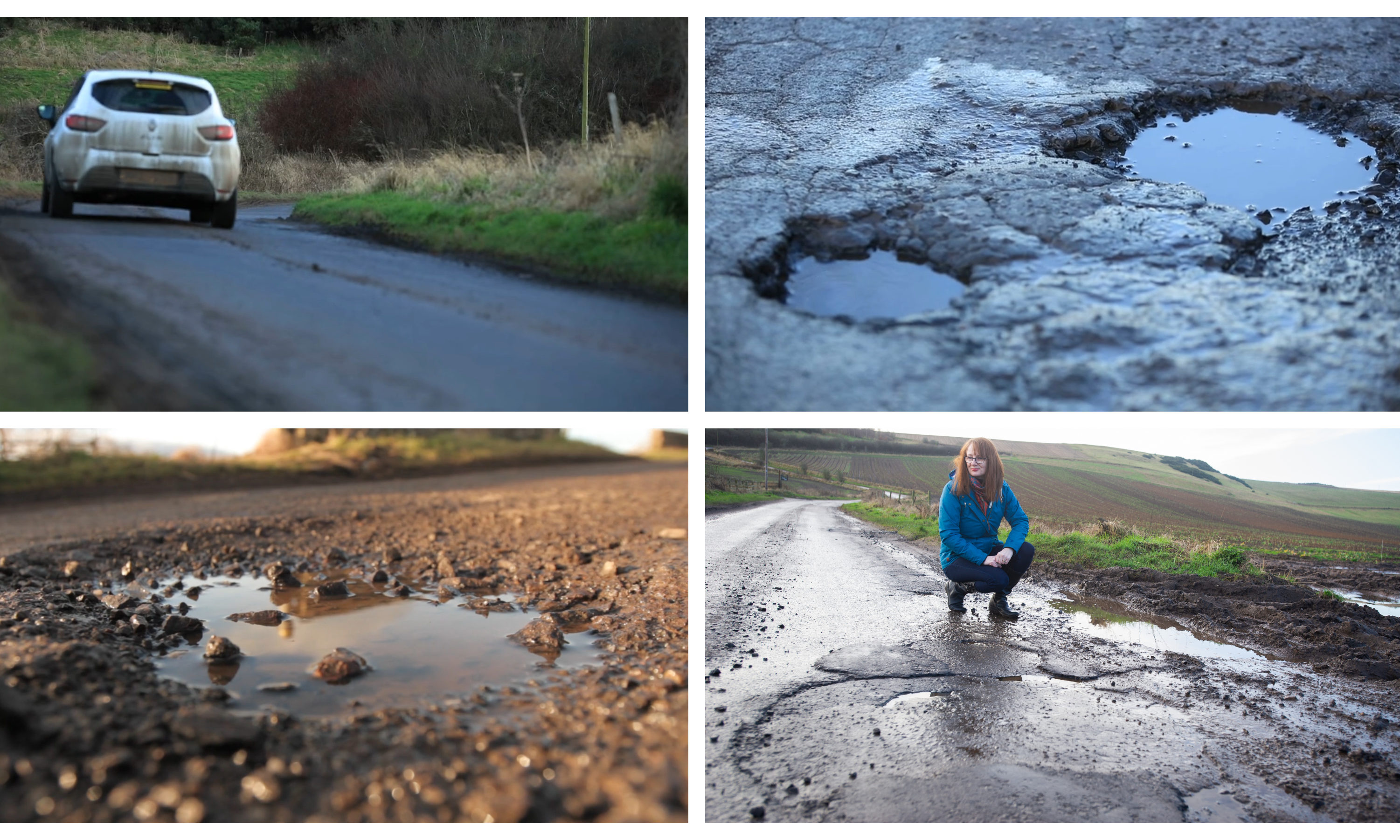 The potholed road between Kilmany and Cupar.
