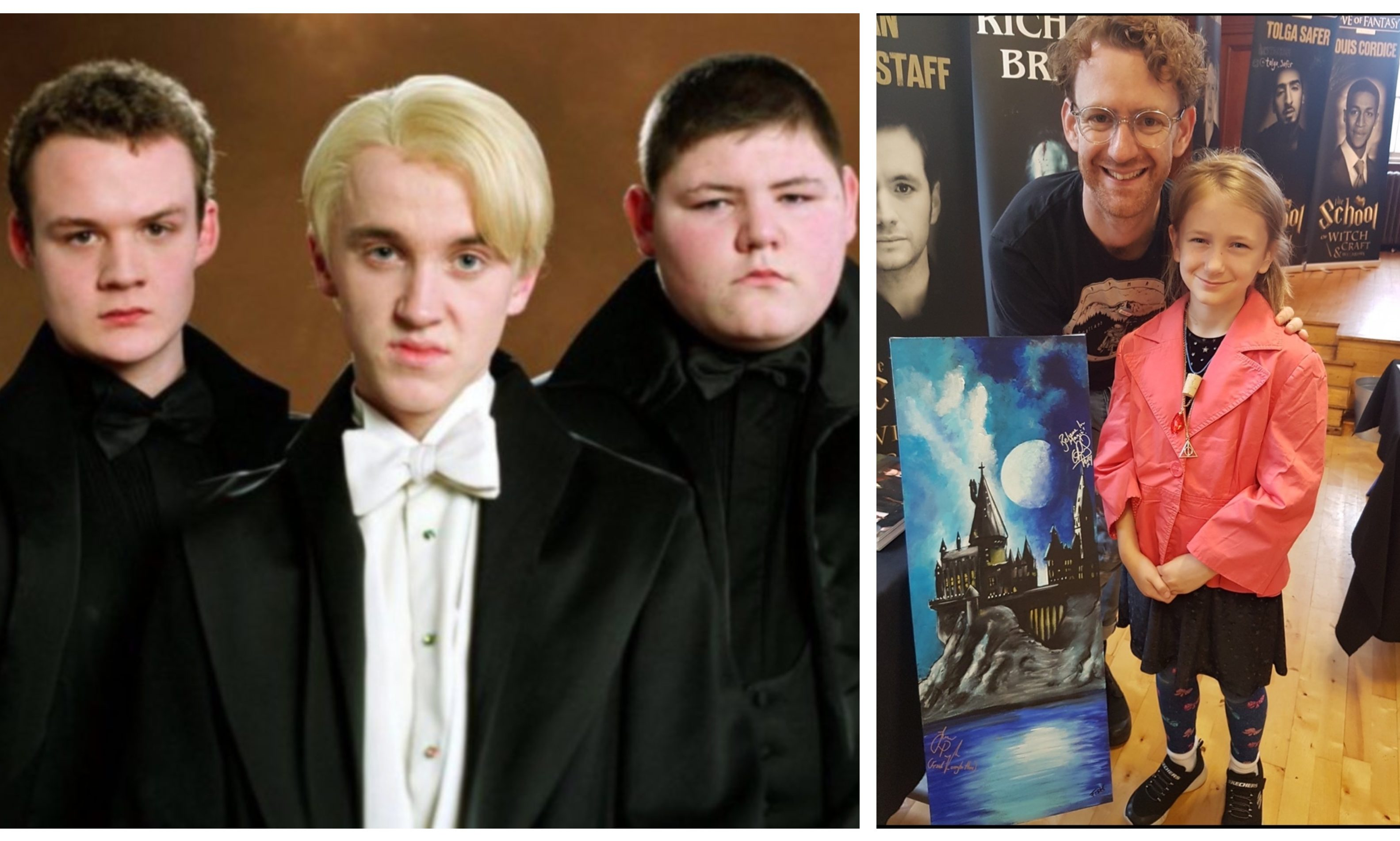 Left: Jamie Waylett and Josh Herdman as Crabbe and Goyle, flanking Tom Felton (Draco Malfoy). Right: Chris Rankin (Percy Weasley) with a fan.