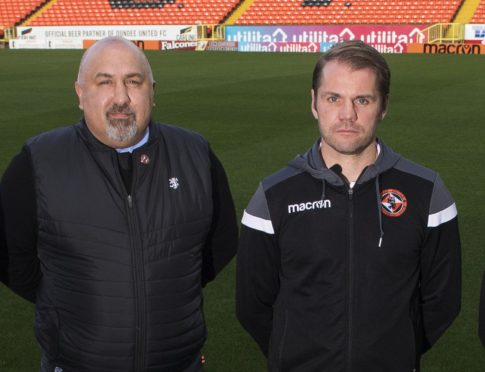 United sporting director Tony Asghar alongside Robbie Neilson