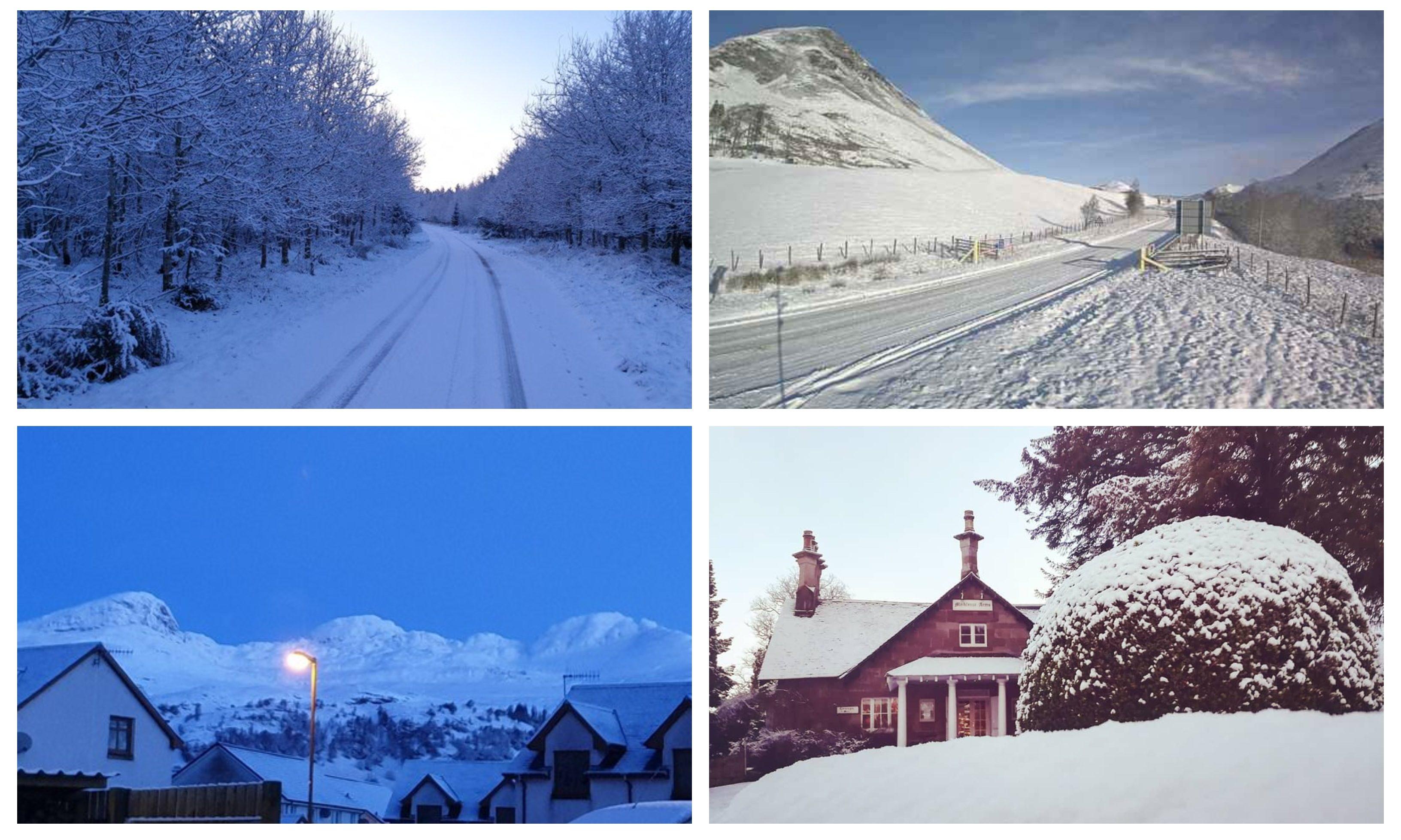 Snow across Tayside on Tuesday morning.