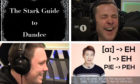 Chris Stark (bottom left) and Scott Mills (top right) on air as The Stark Guide to Dundee is read out.