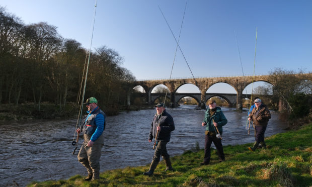 Anglers heading off to cast their first lines at Kinnaber in front of the North Water Bridge Viaduct as the North Esk opens for the 2020 season.
