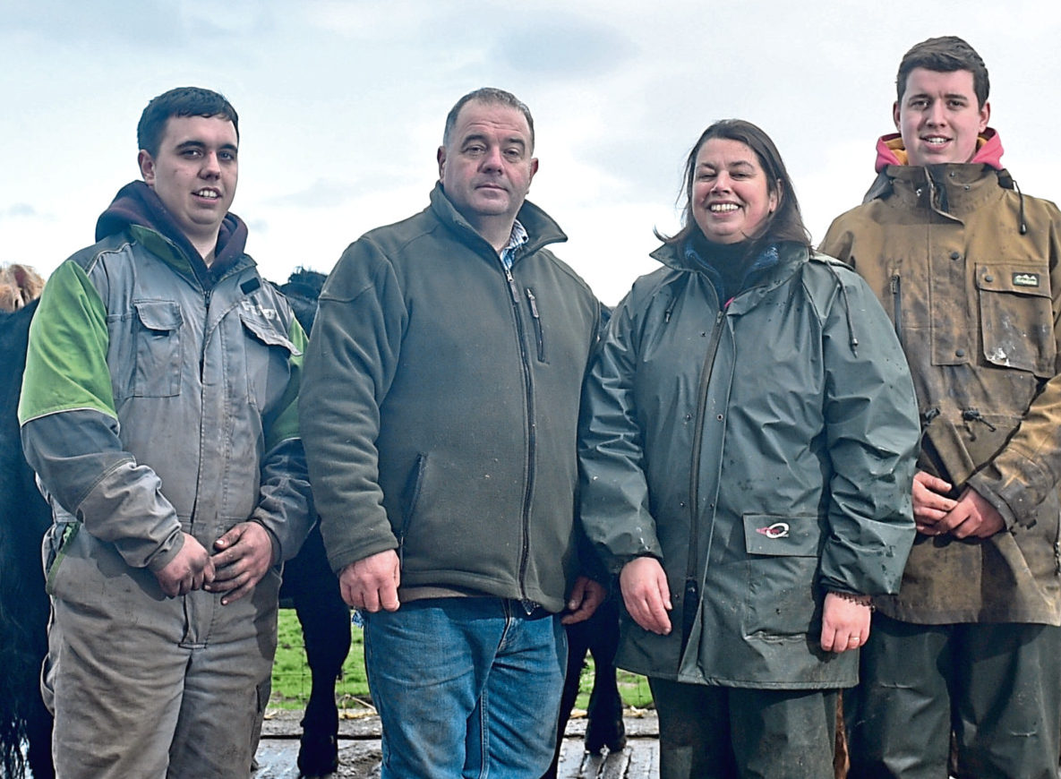 Family matters – Jamie, Bob, Kay and Andrew Adam with the family's bulls for the upcoming Stirling Bull Sales.