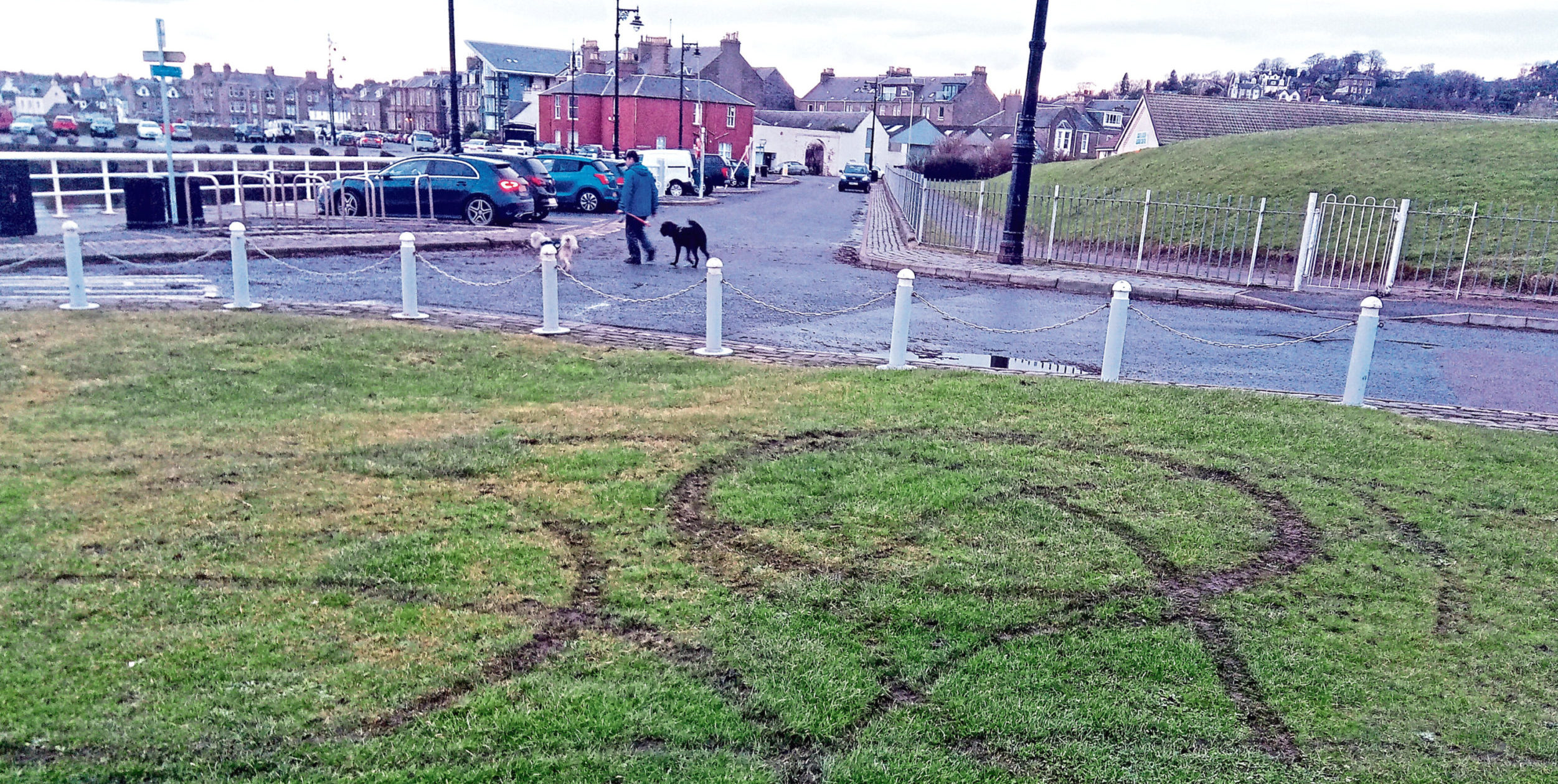 An area of grass near Broughty Castle was damaged by a suspected dirt biker.