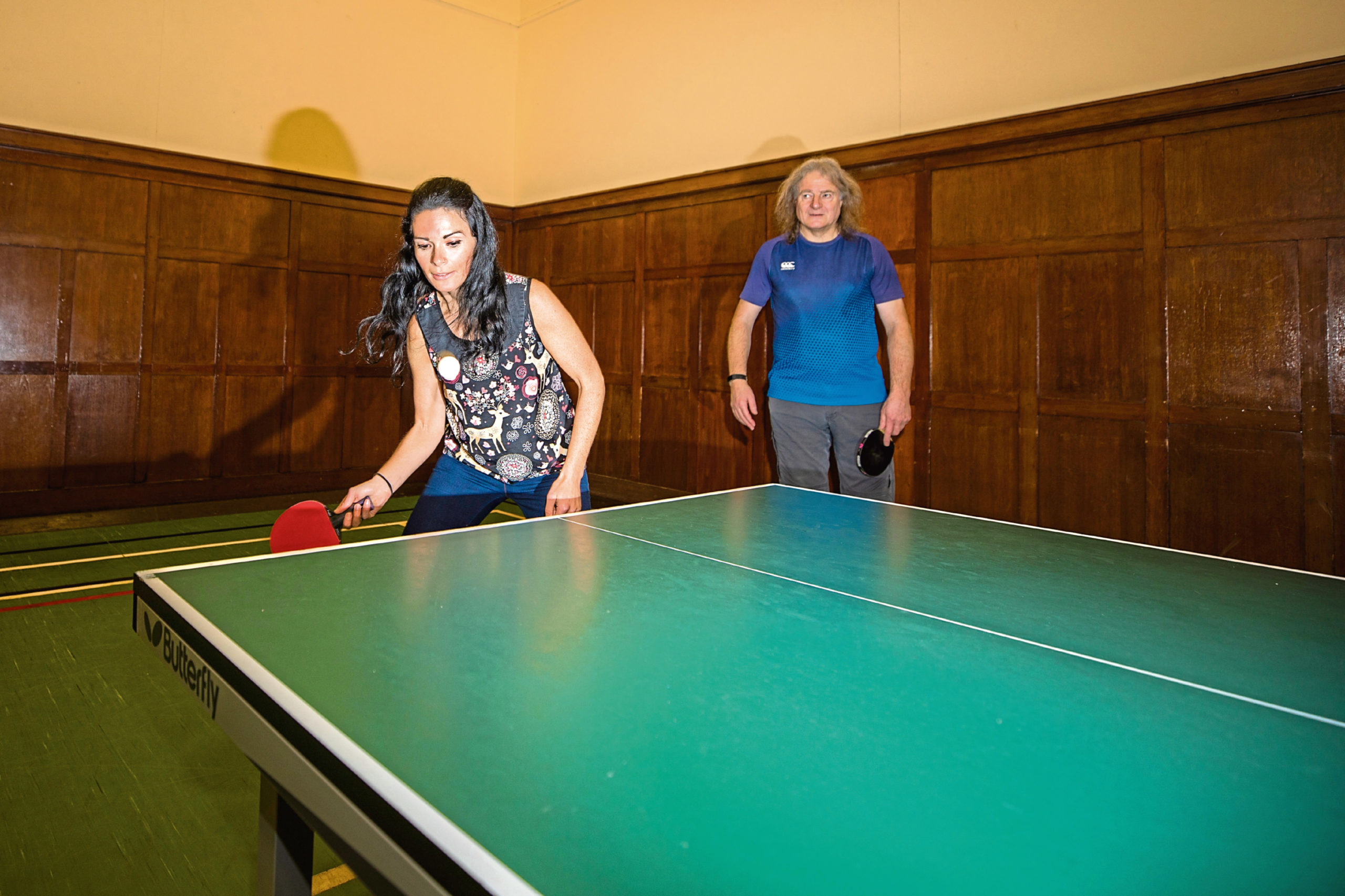 Gayle has a bash at table tennis with Dundee and District Table Tennis Association and is given some tips from Arthur Pritchard.