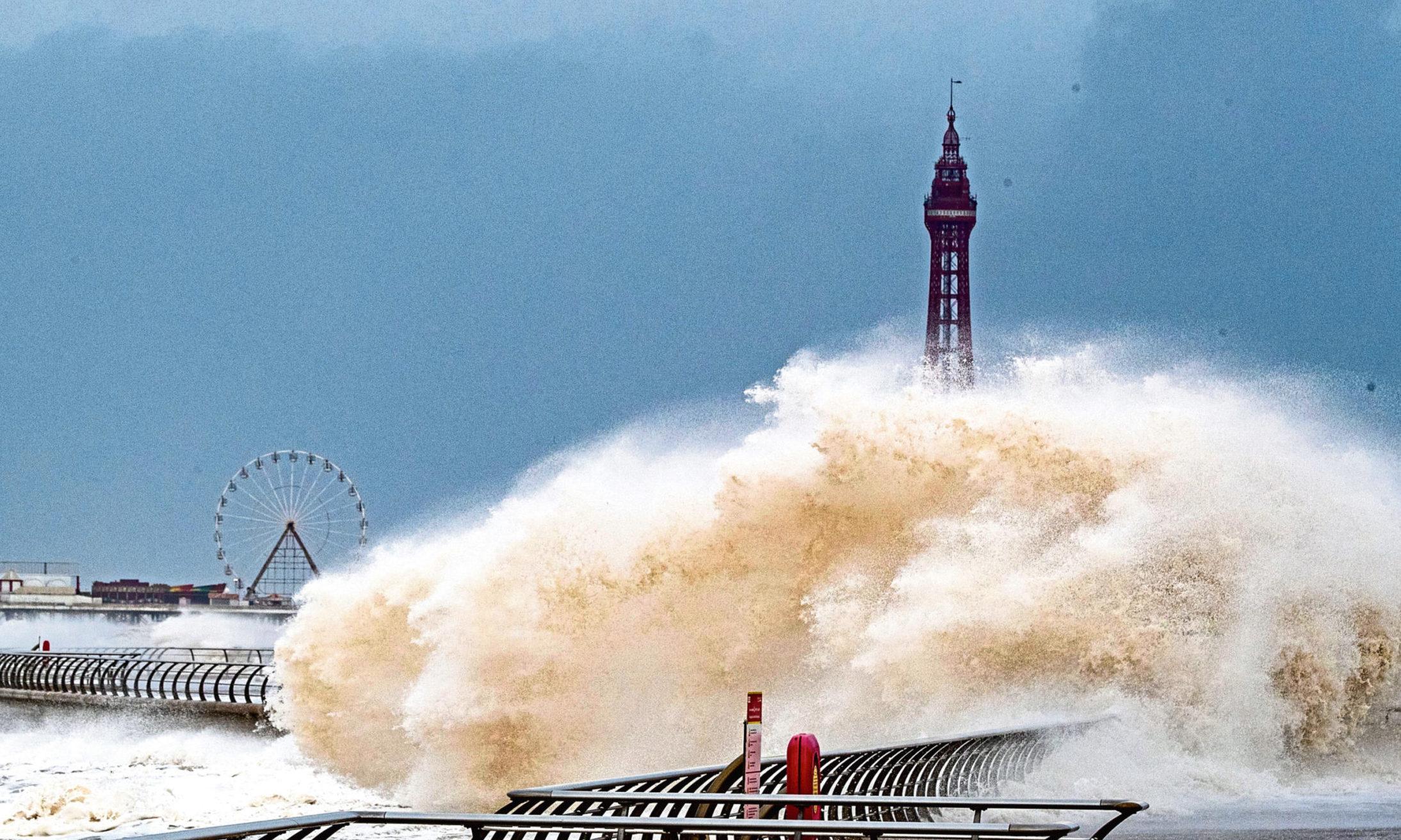 Storm Ciara batters Blackpool waterfront.