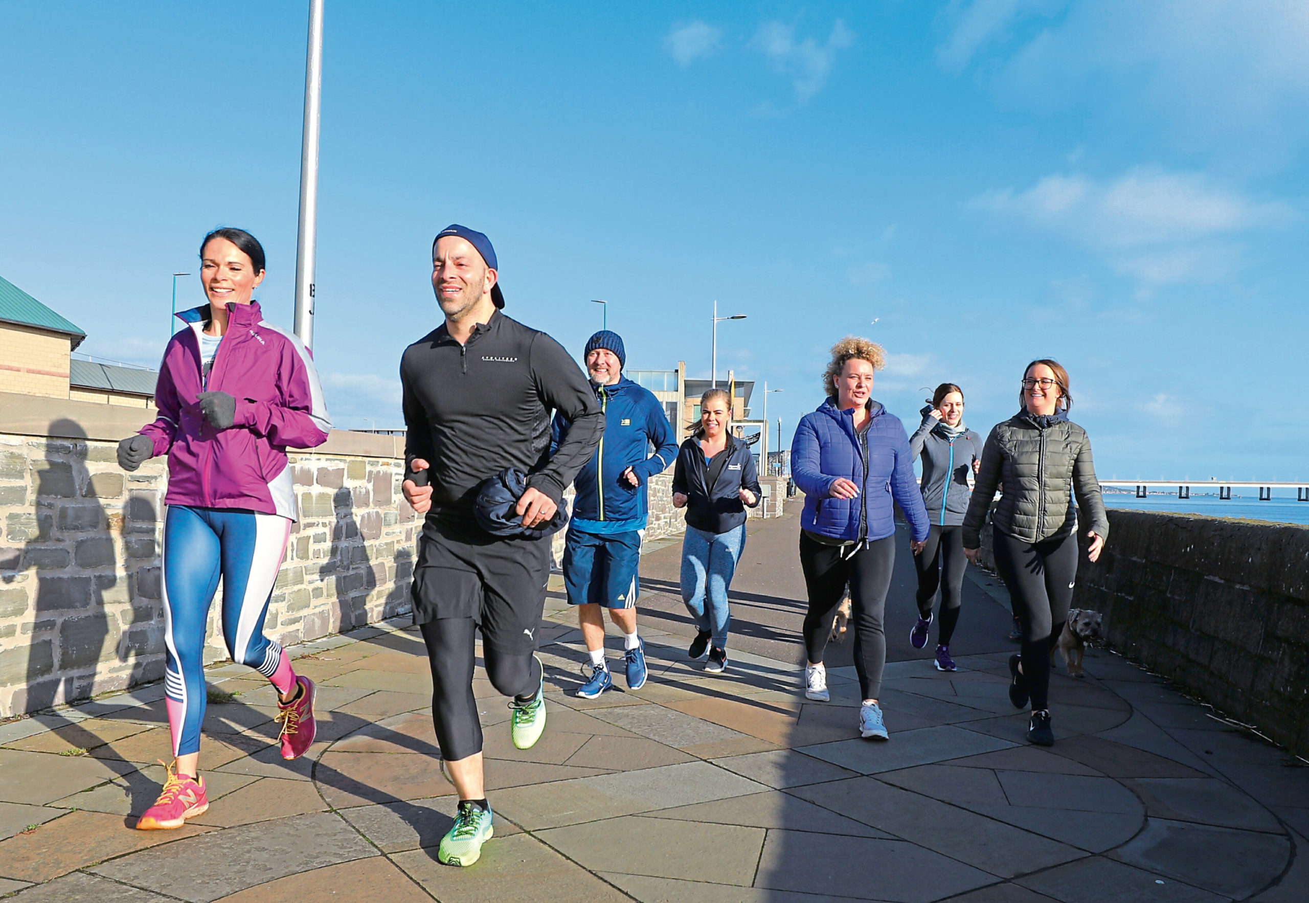 Gayle with the Run Talk Run group on Riverside Drive, Dundee.