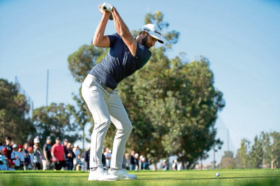 Dustin Johnson tees off on the second hole at Riviera, host of the Genesis Invitational, last weekend.