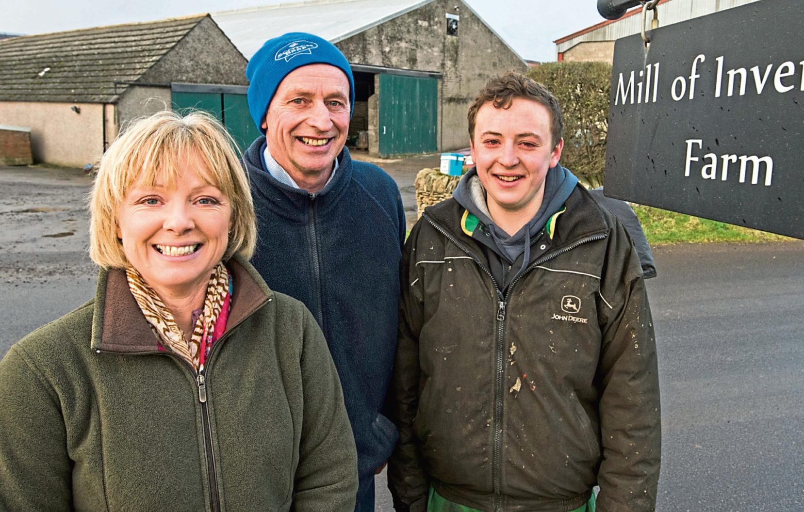 Inverarity monitor farmers Robert, Alison and Tom Stodart.