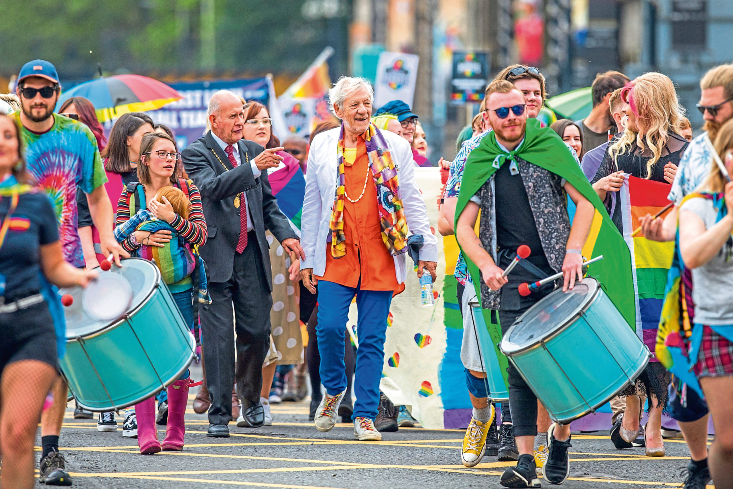 Perthshire Pride 2019 event with parade and appearance by Sir Ian McKellen.