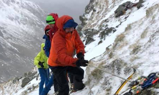 The Lochaber Mountain Rescue Team during the rescue on Stob Ban.