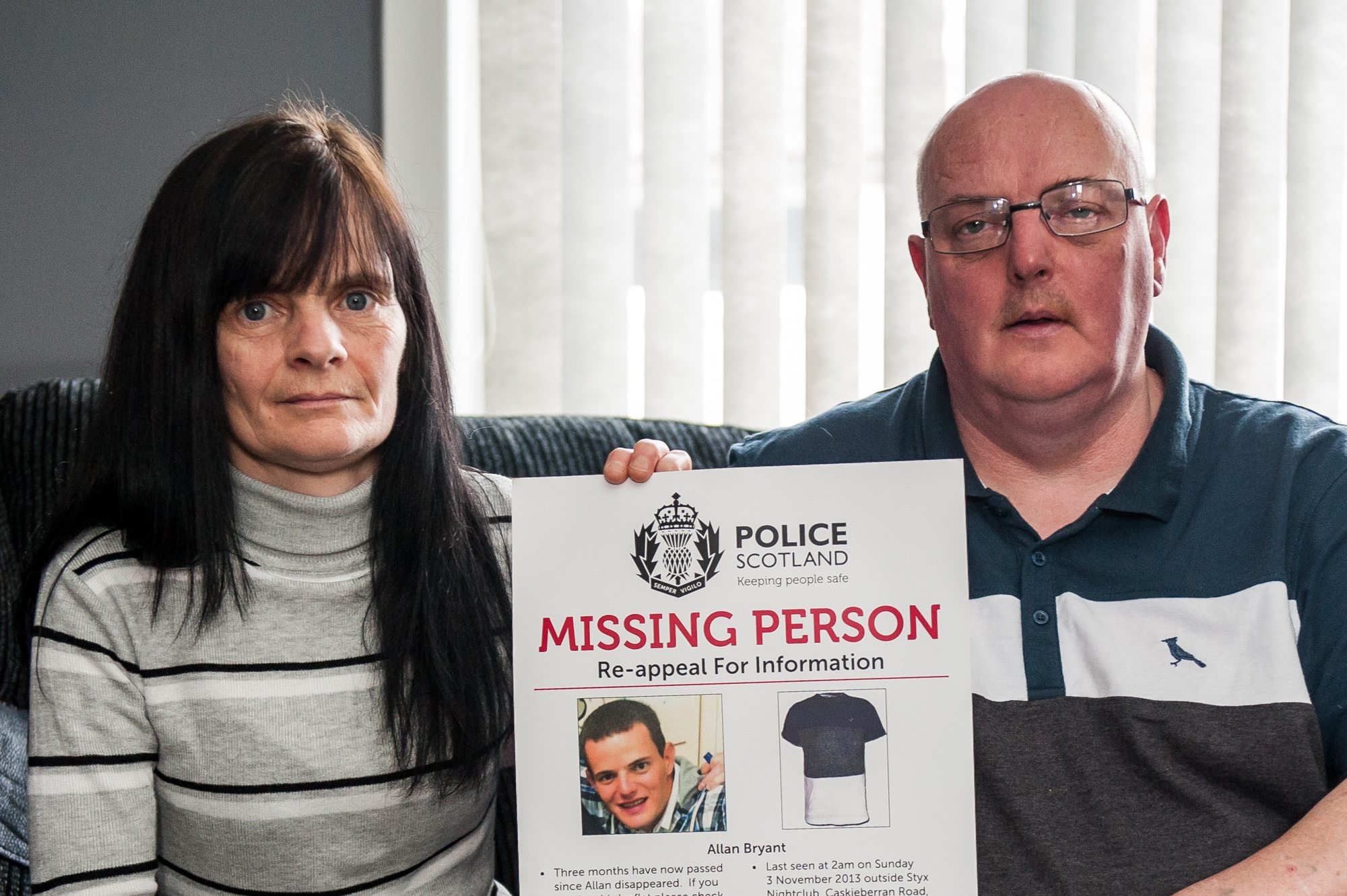 Allan Bryant Snr and Marie Degan, parents of missing Fife man Allan Bryant will call for a new investigative team.