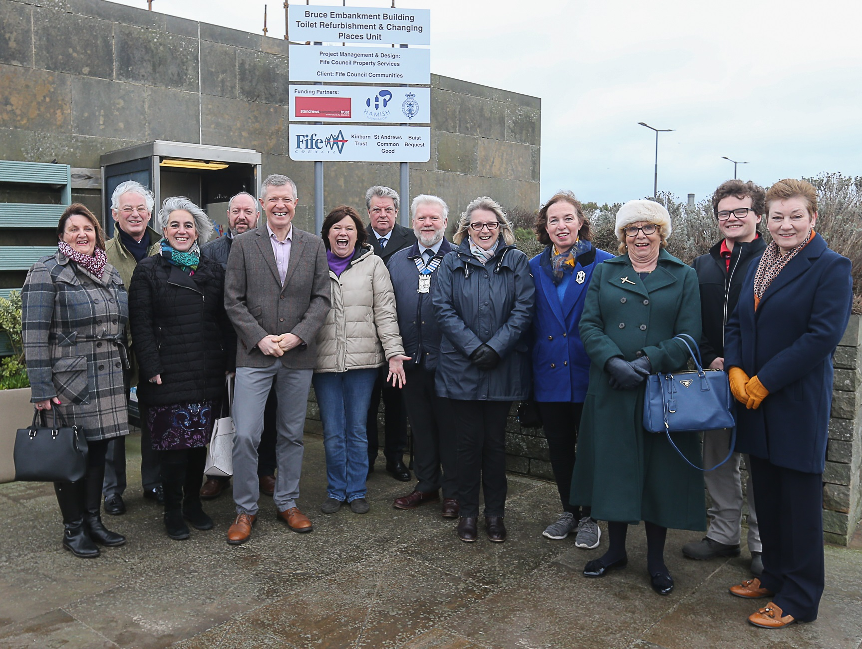 Photo L to R: Janice Laird, Fife Council, Robert Rae R&A, Daphne Bilouri-Grant, St Andrews Community Trust, Jeff Jacobs, Fife Council,  Willie Rennie, MSP Debbie McCallum, Tourism St Andrews, Stephen Toon, R&A, Callum MacLeod, Royal Burgh of St Andrews Community Council, Cllr Ann Verner, Cllr Jane-Ann Liston, Dorothea Morrison, St Andrews Partnership, Cllr Nominic Nolan, Irene Morrison, St Andrews Community Trust