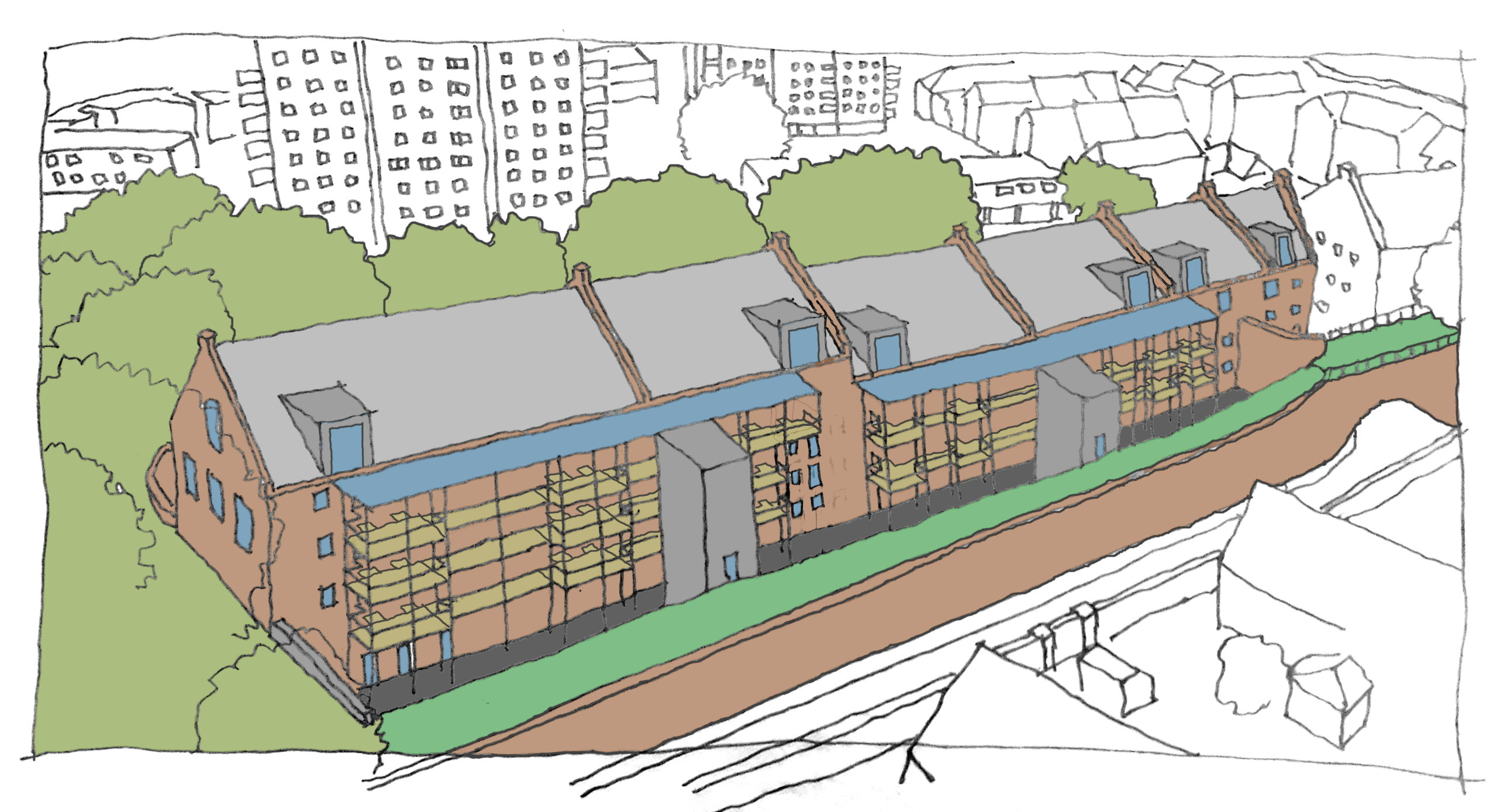A sketch of the planned development,
