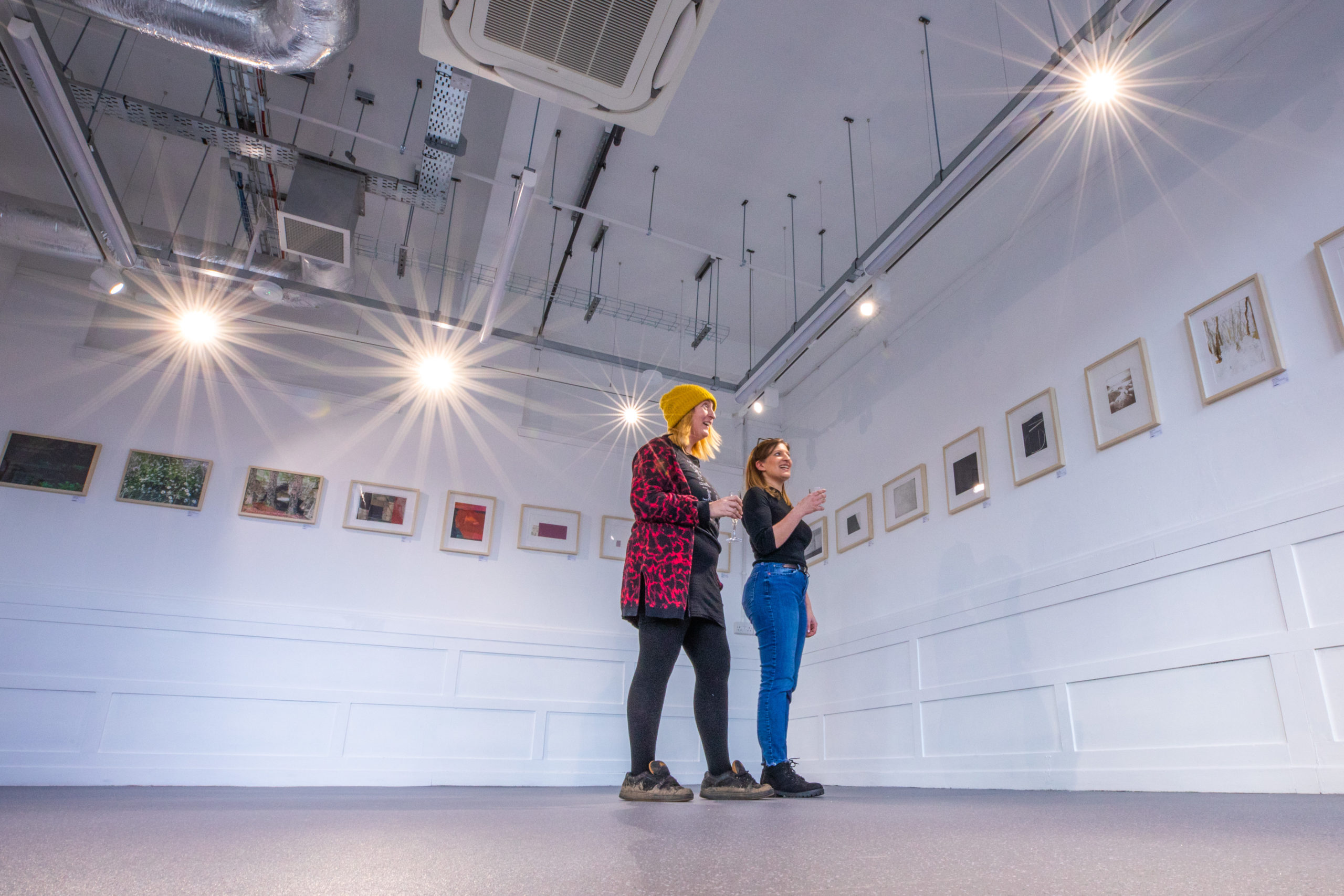 Tenants Sarah Marshall (left) and Pamela Atan (right) in an the 'Gannoch Project Space' at Perth Creative Exchange