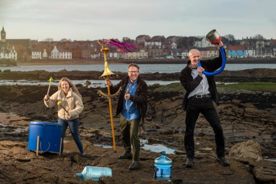 Richard Wemyss and Ellie Deas, of Cellardyke Sea Queen Festival, with composer and instrument maker Graeme Leak at Anstruther's Billow Ness Beach as they prepare to turn plastic pollution into musical instruments for the 2020 East Neuk Festival.