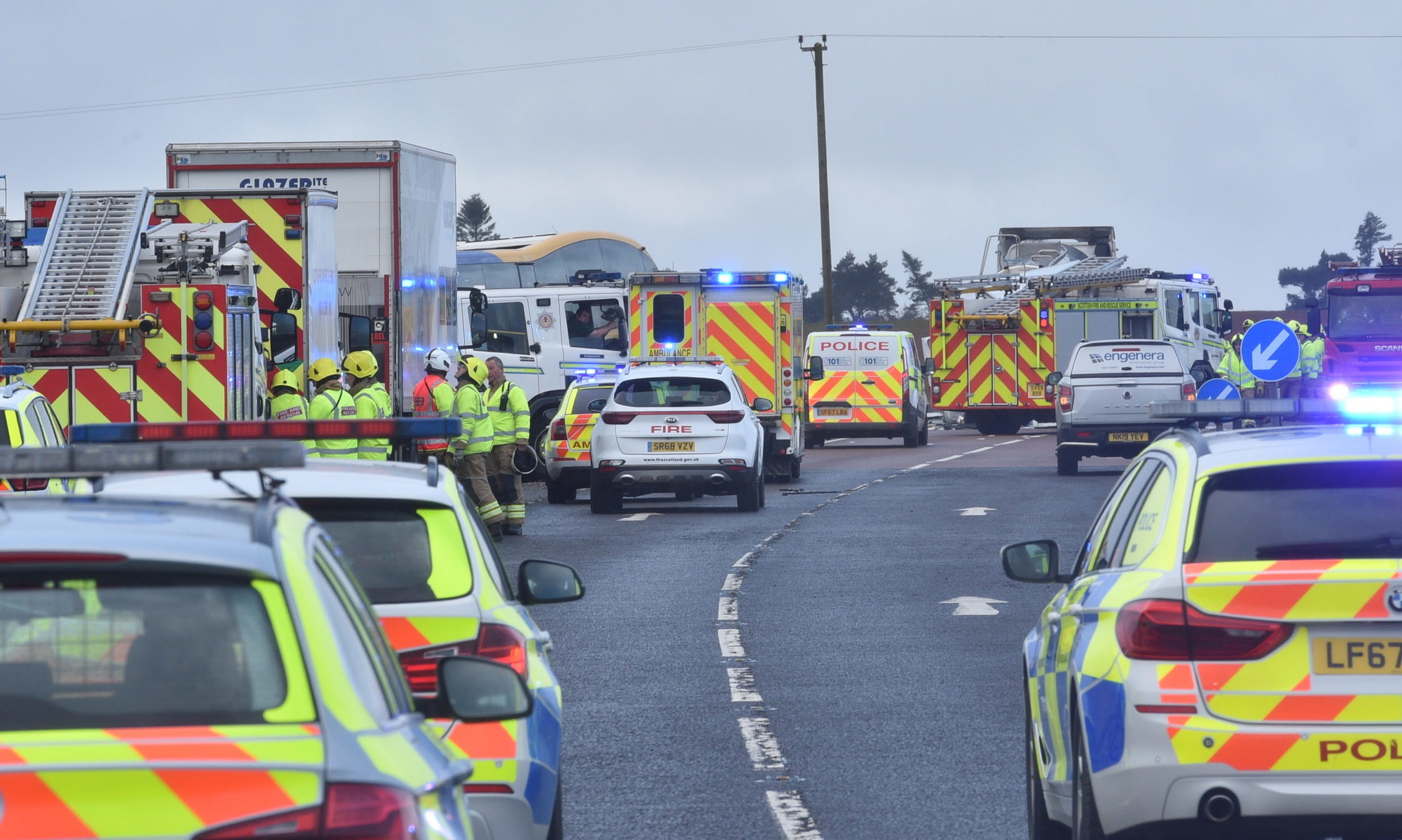 The crash at Fordoun on the A90.