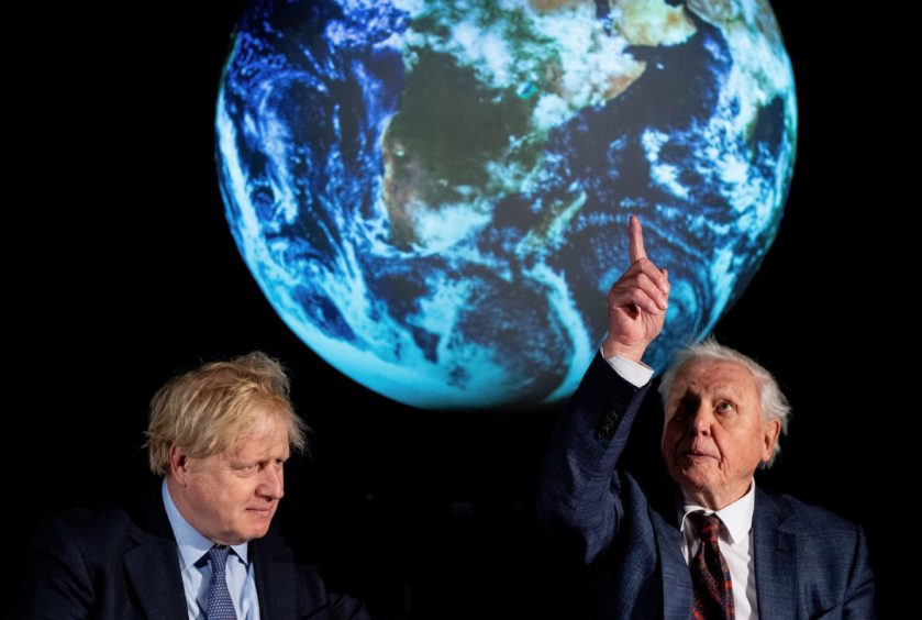 Boris Johnson and Sir David Attenborough at the launch of the next COP26 UN Climate Summit at the Science Museum, London.