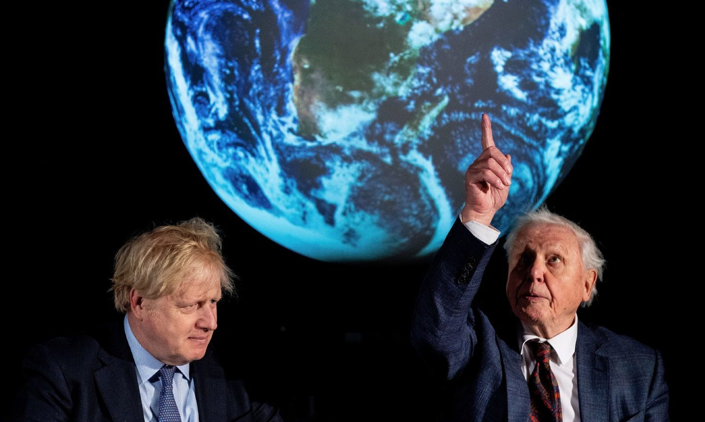 Boris Johnson and Sir David Attenborough in February at the launch of the now postponed COP26 UN Climate Summit