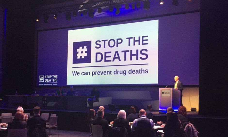 Joe FitzPatrick talking at Wednesday's drugs death crisis conference in Glasgow.