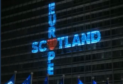 The logo projected on the EC building on Friday January 31.