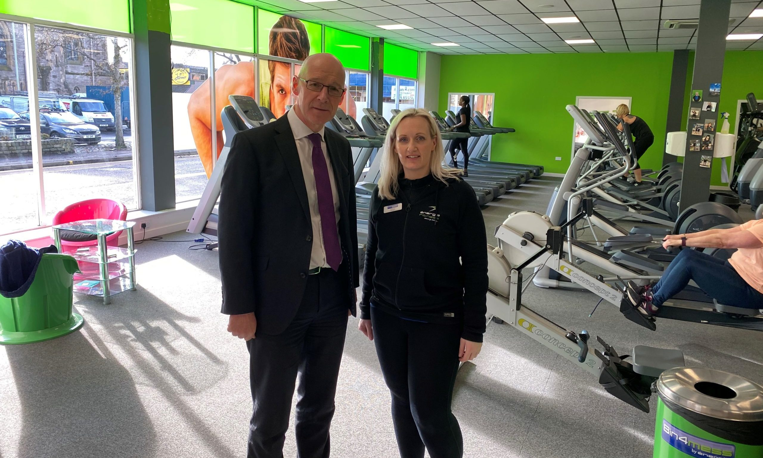 John Swinney MSP and manager Tammy Fleuchar want to see the gym saved.