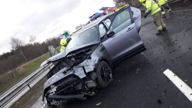 Perth comedian Fred MacAulay's car following a crash on the A9