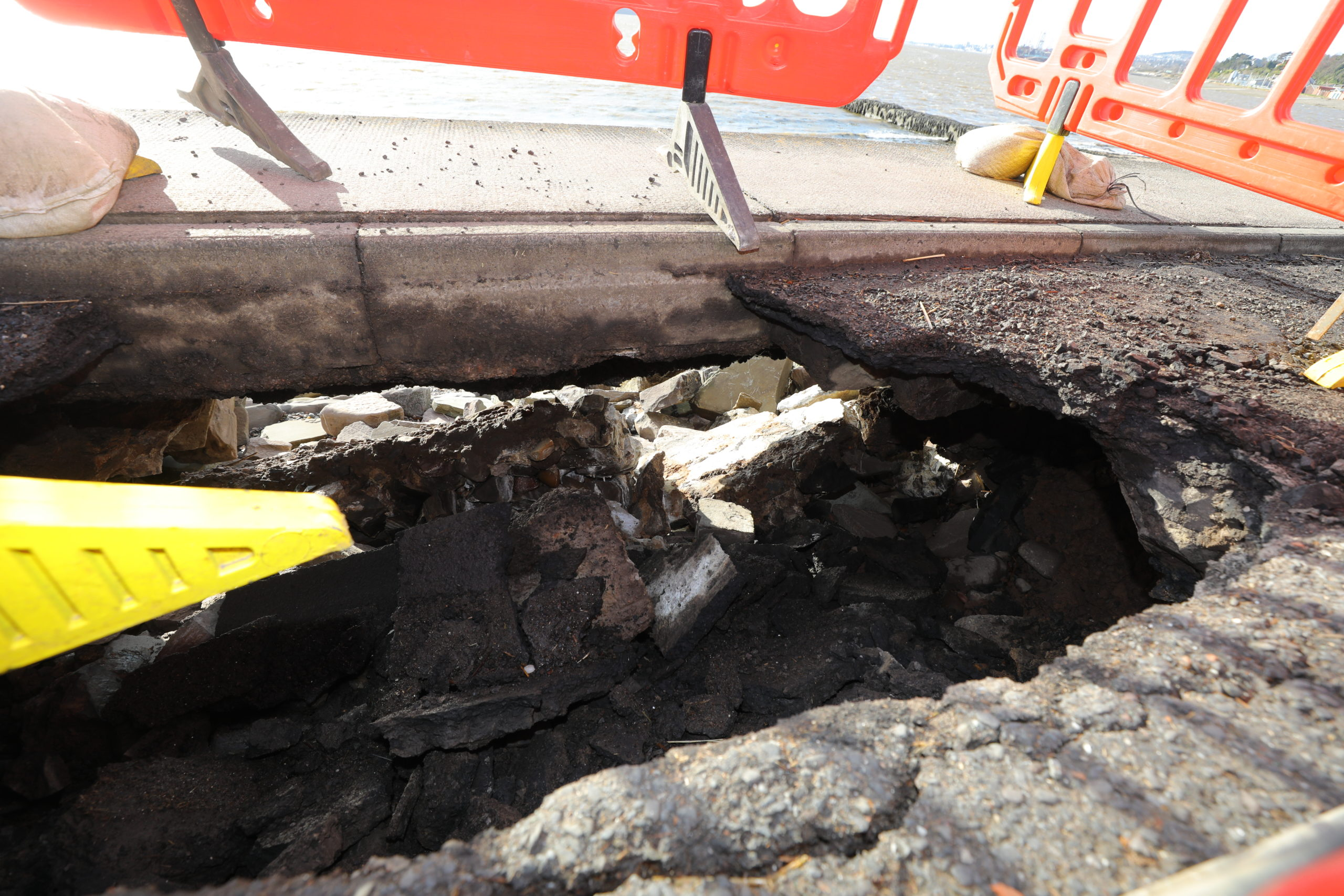 The hole in the road at Douglas Terrace,