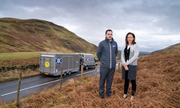 Lorna Duff from the Sandpiper Trust and Sean Cooper from the Stirling Trailer Centre.