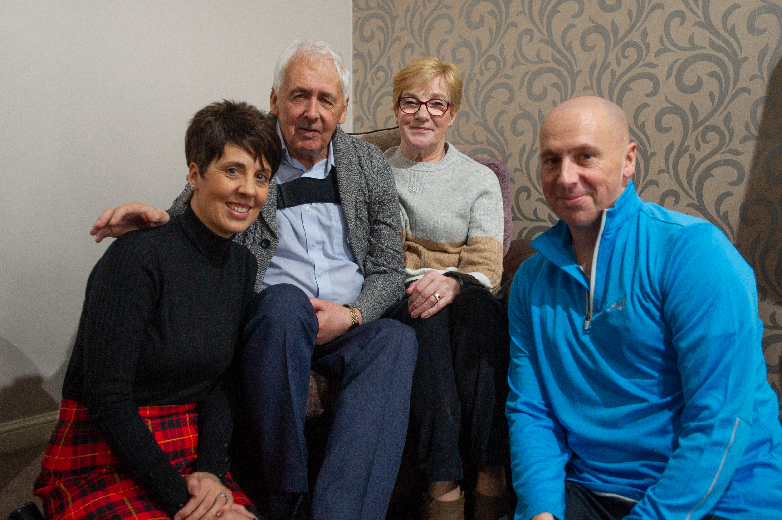Left to right: Debbie Hamilton (charity runner), Alan (dad), Maureen (mum) and Ricky (runner).