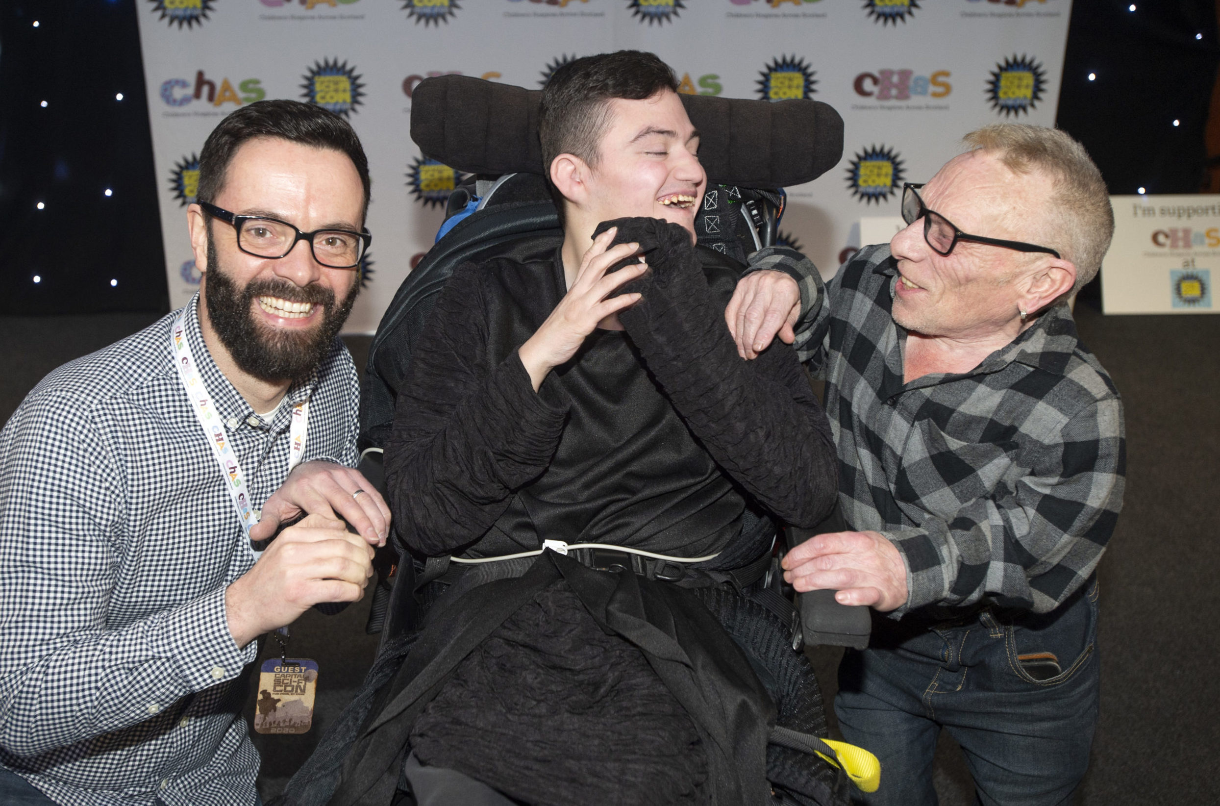Pictured is Adam Meldrum, from Kirkcaldy, with James Mackenzie (Raven) and Jimmy Vee who played R2D2 in the Star Wars movies.