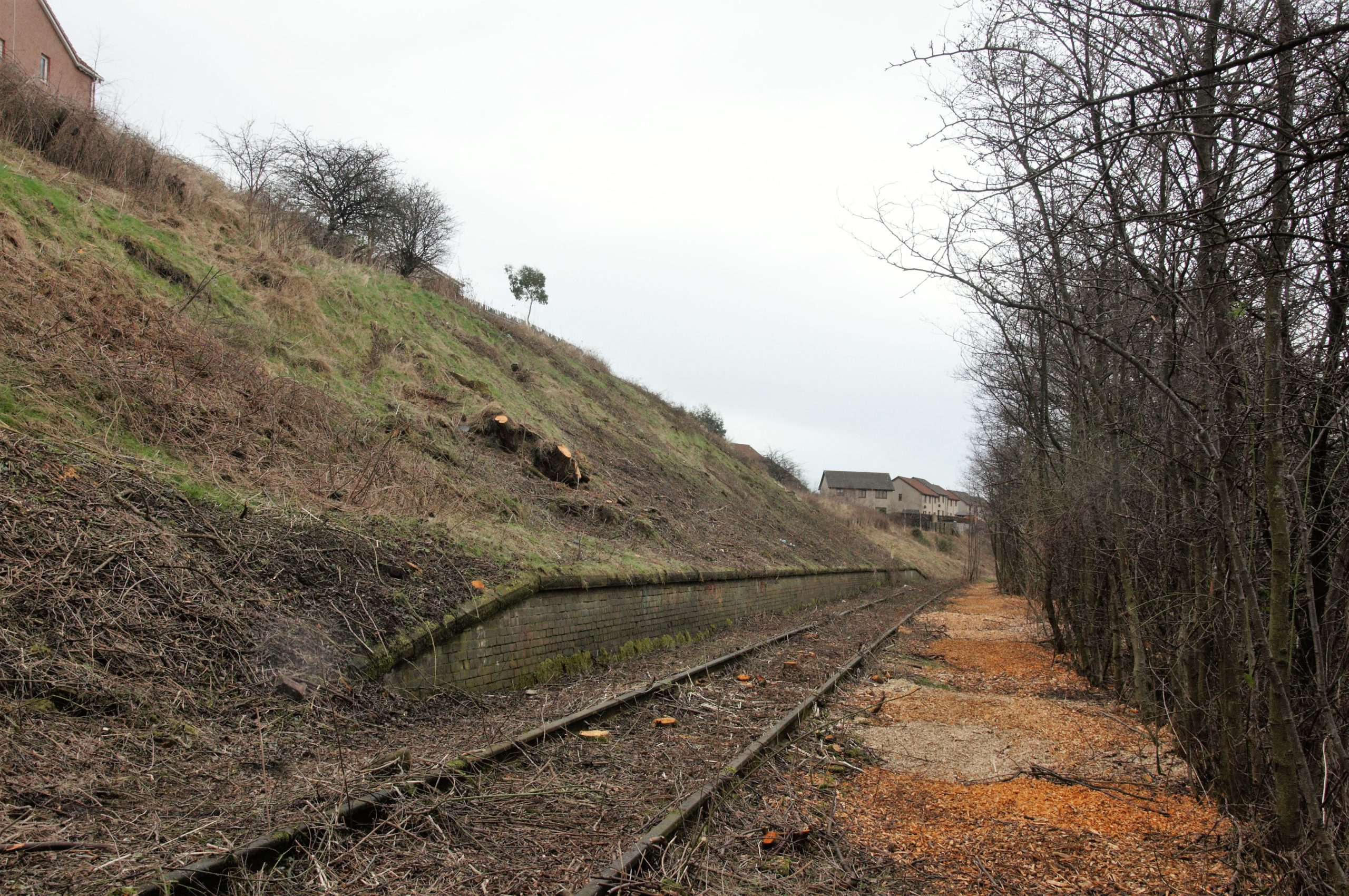 A section of the Leven line which has already been cleared for engineering works.